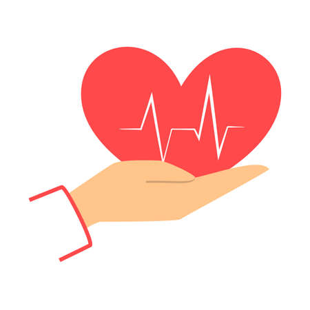 Hand holding heart icon. Idea of health treatment and help