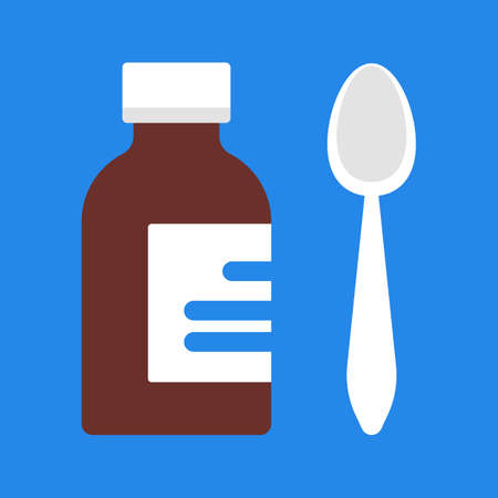 Medical drug with a spoon. Therapy and health care