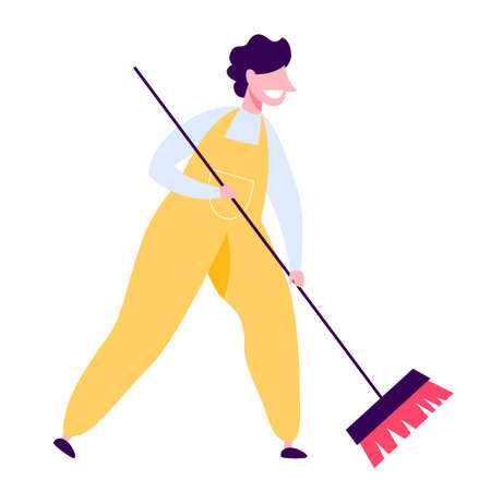 Man in uniform cleaning the floor with a broom Stock Illustratie