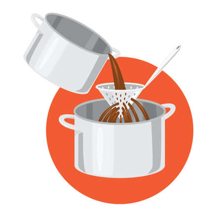 Broth cooking in the soup pot. Pouring liquid through the filter. Ilustração