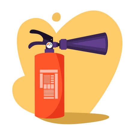 Red extinguisher. Emergency equipment for using in danger Illustration