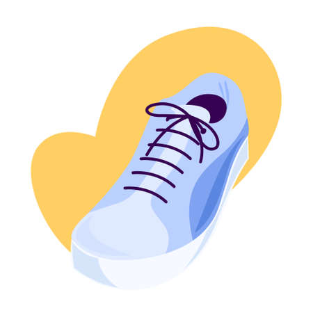 Sport shoe, sneakers with shoelace. Jogging footwear.