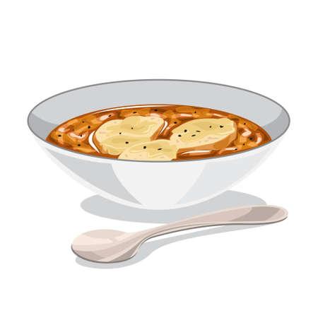 Zuppa di cipolle in una ciotola. Cena deliziosa a casa.