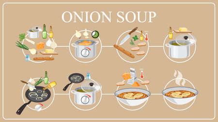 Onion soup recipe. Cooking delicious dinner at home