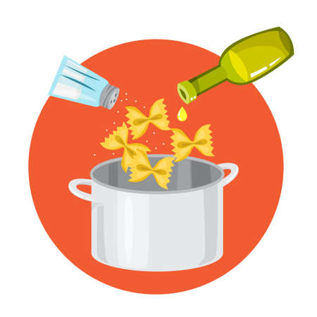 Cooking italian pasta in the pot. Delicious lunch at home Illustration