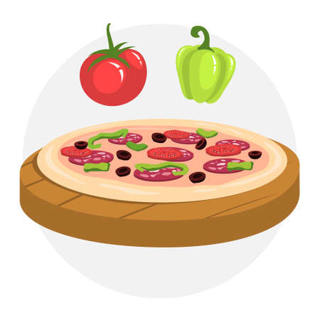 Making pizza at home. Homemade italian food. Salami, tomato Çizim