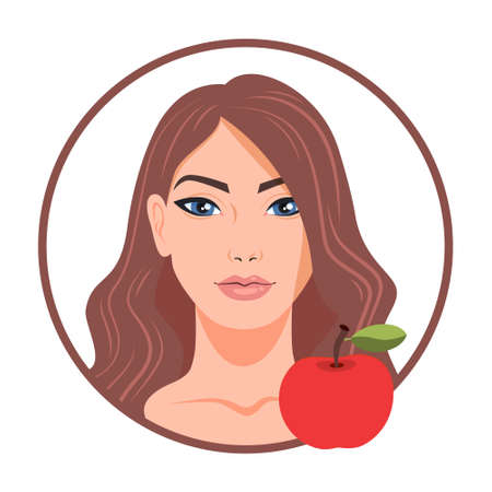 Beautiful woman and apple. Idea of healthy nutrition