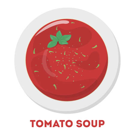 Tasty delicious tomato soup, red food in the bowl