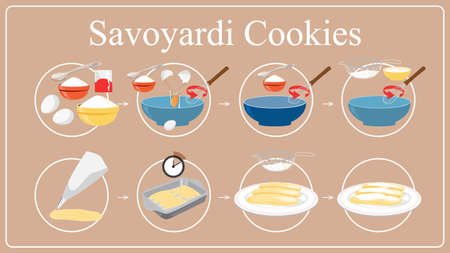 Savoiardi cookies recipe for cooking at home. Illustration