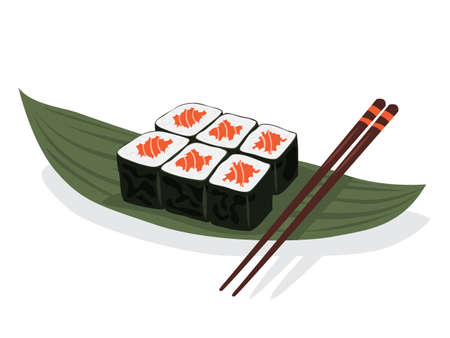 Sushi roll on the plate with chopstick. Fresh japan or chinese food Banque d'images - 129656210