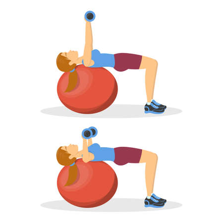 Bench press on fitness ball, exercise for chest. Woman