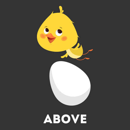 Chicken and egg. Learning preposition with bird concept. Animal above the egg. Isolated vector educational illustration in cartoon style Фото со стока - 129569124