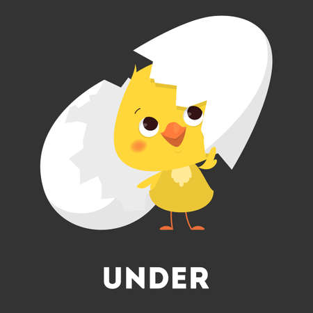 Chicken and egg. Learning preposition with bird Иллюстрация