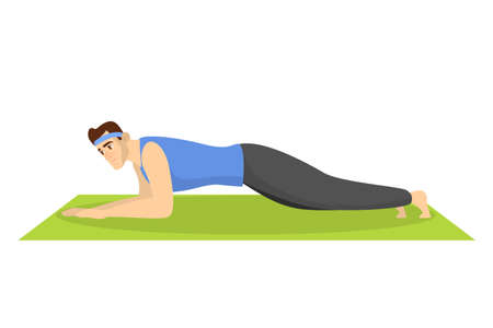 Man standing in plank position, ABS exercise. Athlete
