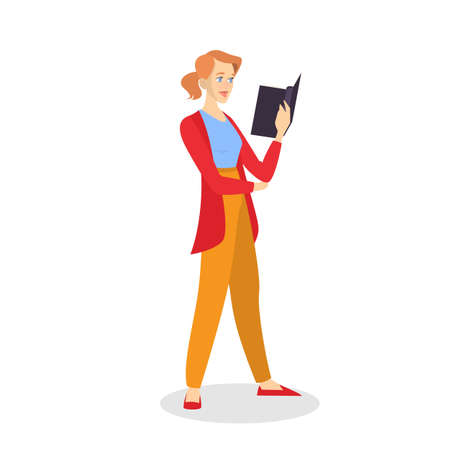 Young woman reading book concept. The person read