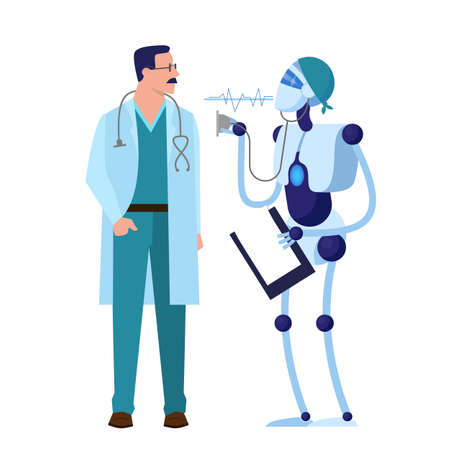 Humand and robot doctor. Robotic technology in medical