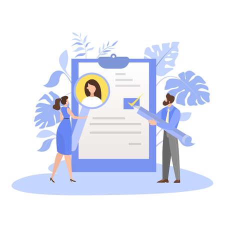 List of job candidate. Idea of employment and job interview Иллюстрация