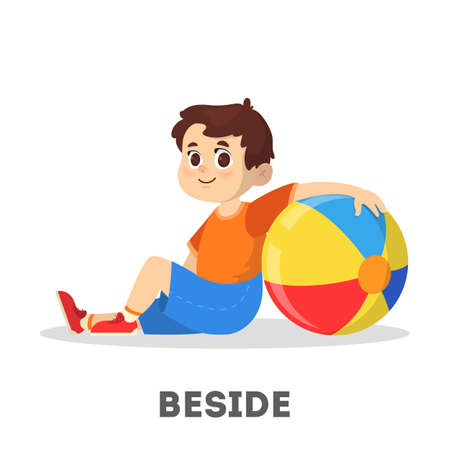 Bambino e palla. Apprendimento del concetto di preposizione. Ragazzo accanto alla palla. Illustrazione educativa vettoriale isolato in stile cartone animato
