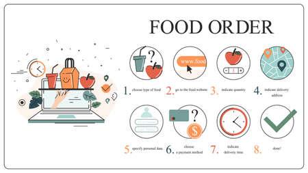 Online food delivery instruction set. Food order in the internet Illusztráció