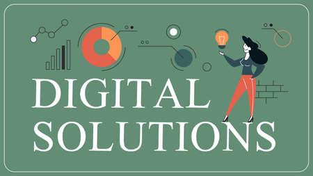 Digital solutions horizontal flat banner for website Stock Illustratie
