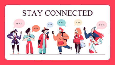 Stay connected web banner concept. People chat Ilustração