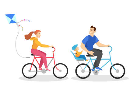 Happy family ride bike. Healthy activity, outdoor exercise. Mother, father and child. Isolated vector illustration in cartoon style