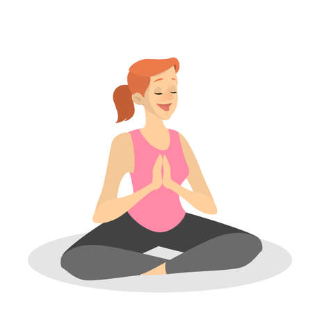 Meditation in lotus pose. Yoga practice for mind and body health. Relax and peace. Isolated vector illustration in cartoon style Illusztráció