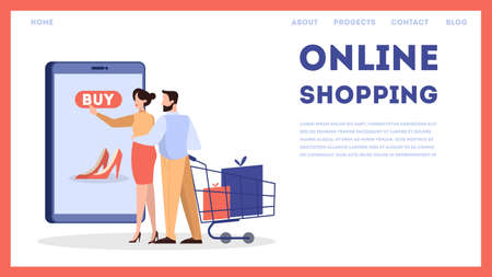Online shopping web banner concept. E-commerce, customer on the sale choosing shoes. Web page design. Internet marketing. Isolated vector illustration in flat style Foto de archivo - 130161072