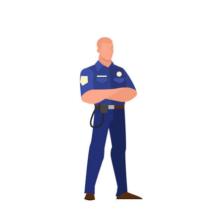 Police officer, guard in the uniform. Policeman standing, law and authority. Isolated flat vector illustration