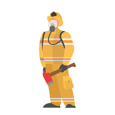 Fireman in the helmet and uniform. Emergency occupation. Protection and rescue. Firefighter standing. Isolated flat vector illustration
