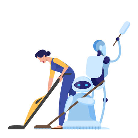 Robot cleaner and woman character. Idea of futuristic technology, android with broom. Isolated vector illustration in cartoon style