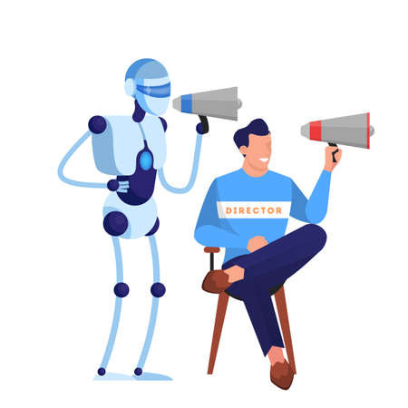 Film and movie director sitting on chair and speaking through the megaphone. Creative occupation, producer in cinema studio. Robot working in movie studio. Isolated vector illustration in flat style