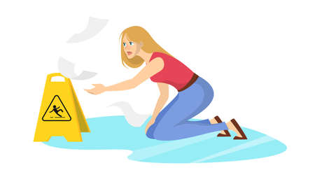 Woman falling on the wet floor. Caution sign, warning slippery floor. Injury and accident. Isolated vector illustration in cartoon style