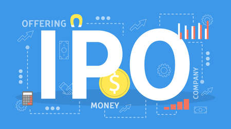IPO or initial public offering web banner concept.