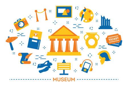 Museum concept. Sign of building architecture. Sculpture Ilustrace