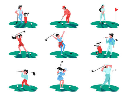 People play golf set. Person holding club and ball. Summer competition, outdoor game. Isolated vector illustration in cartoon style