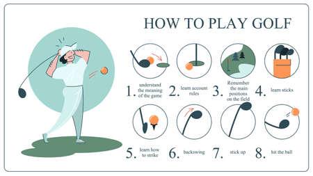 Come giocare a golf guida per principianti. Regole di base . Giocatore dell'uomo sul campo con la palla. Lezione di golf. Illustrazione vettoriale piatta Vettoriali