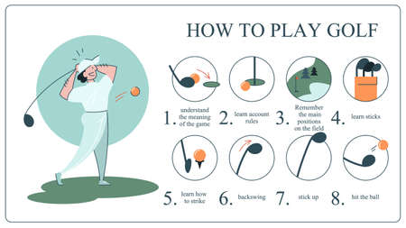 How to play golf guide for beginners. Basic rules . Man player on the field with ball. Golf lesson. Flat vector illustration