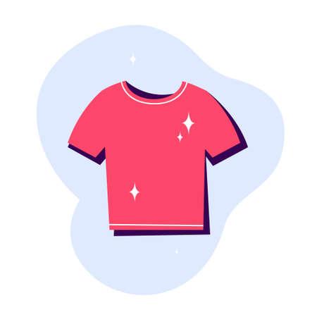 Clean red t-shirt icon. Clothing symbol. Fashion apparel