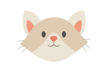 Cat head. Cute and funny animal. Kitten smile, adorable pet Illustration