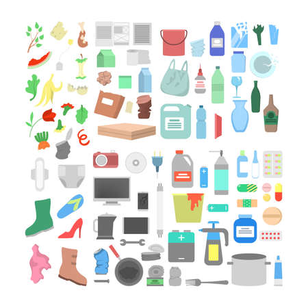 Garbage icon set. Collection of plastic, paper and glass waste Illustration