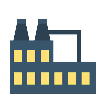 Factory icon. Industrial building, idea of air pollution