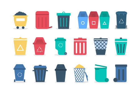Trash can set . Collection of garbage container. Idea