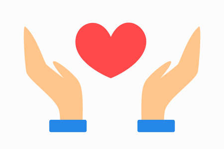 Hand holding heart icon. Idea of health treatment and help Imagens - 130161200