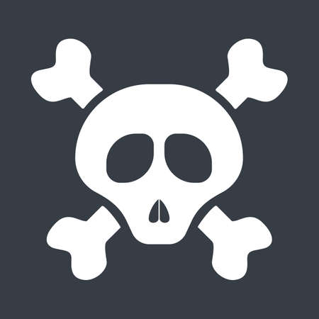 Skull and bine icon. Death symbol. Idea of danger and toxic.