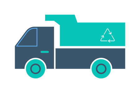 Garbage truck icon. Vehicle, a transportation service.