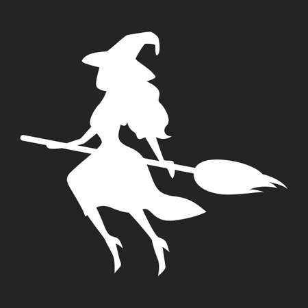 Witch silhouette icon. Character on the broom, spooky