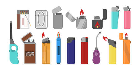 Plastic lighter set. Gas flame. Accessory for smoking.