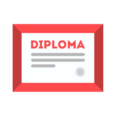 Diploma icon. Certificate in the frame. Document of university graduation. Isolated flat vector illustration 向量圖像