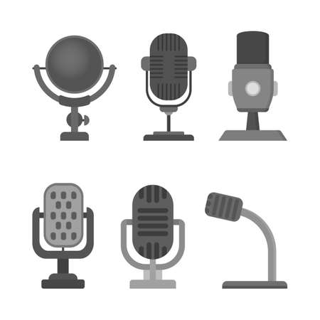 Microphone icon set. Audio technology, musical record symbol. Sound studio sign. Isolated vector illustration in flat style